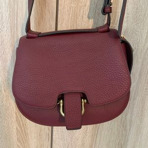 Red leather J.crew crossbody bag